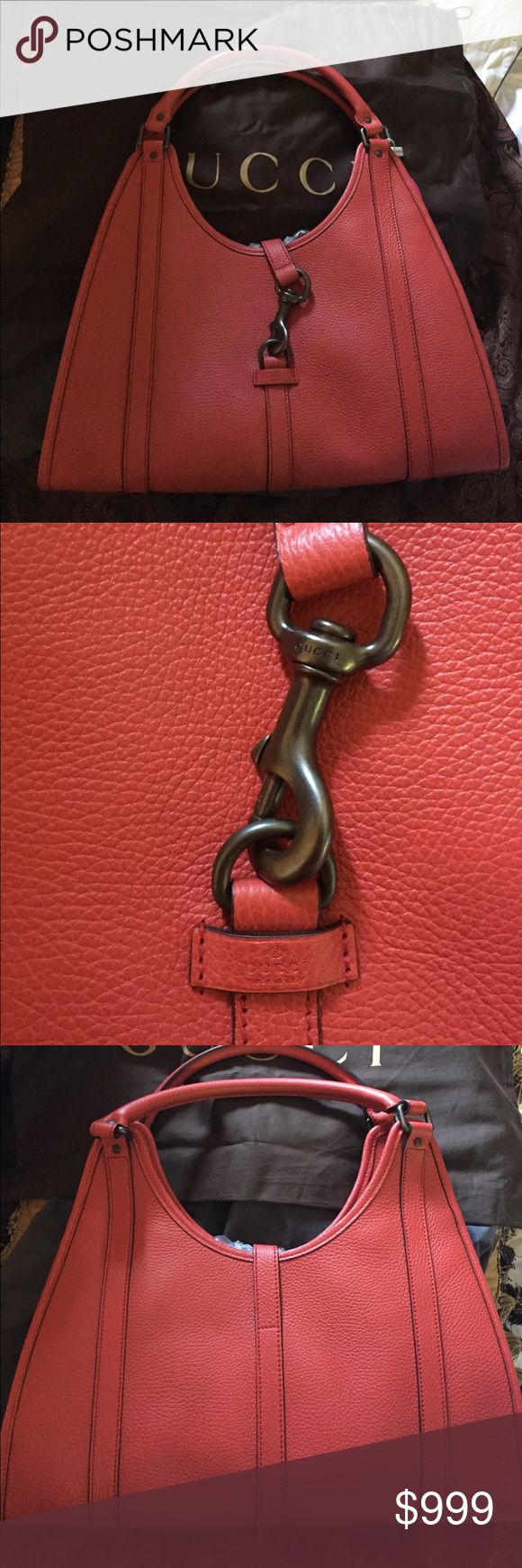 GUCCI JOY CALFSKIN LEATHER HOBO NEW factory pack GUCCI JOY RED  MEDIUM HOBO BAG horsebit clasp new with dust bag red coral Brass hardware calfskin leather Made in Italy 🇮🇹 exquisitely stitched as all Gucci products are carefully hand done from smoke free pet free home happy poshing cheers Gucci Bags Hobos