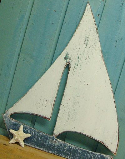 Sailboat Sail Boat Sign Weathered White Beach House Sailboat. $69.00, via Etsy.