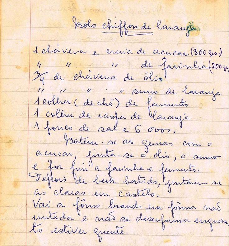 As Receitas da Avó Helena e da Avó Eduarda: Bolo Chiffon de Laranja