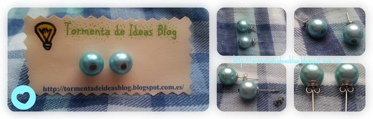 Pendientes simulación de perlas en color menta. Precio: 2,00 €/par