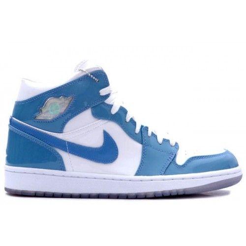 136085-140 Air Jordan Retro 1 White Carolina Blue Patent Leather White  University Blue A01007