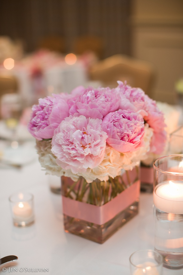 Pink peonies small square centerpiece centerpieces