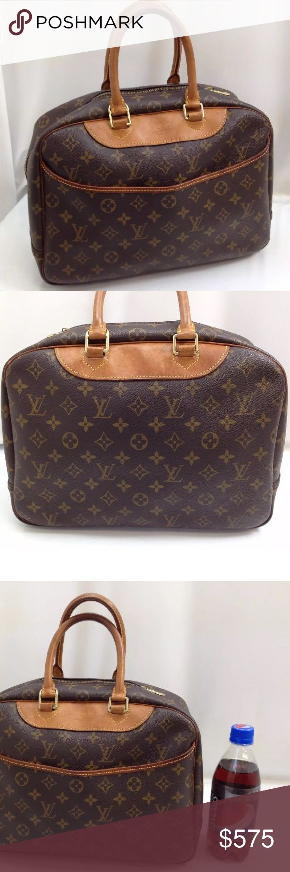 Authentic Louis Vuitton Vintage Deauville Bag 💯% Authentic Louis Vuitton Vintage Deauville Monogram Canvas Handbag. From smoke and pet free environment. This bag has no old smell. Beautiful Vintage Louis Vuitton. Well taken care. Preowned, expect some signs of used. Please review all the photos. What you see is what you get. The Date Code is unclear due to age. 💯% Authentic Guarantee.  Made In France. Louis Vuitton Bags Satchels