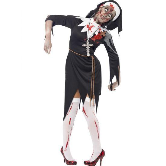 Bloederige zombie non kostuum. Zwart met witte nonnen kostuum met bloedende latex wond, touwriem en nonnenkap.
