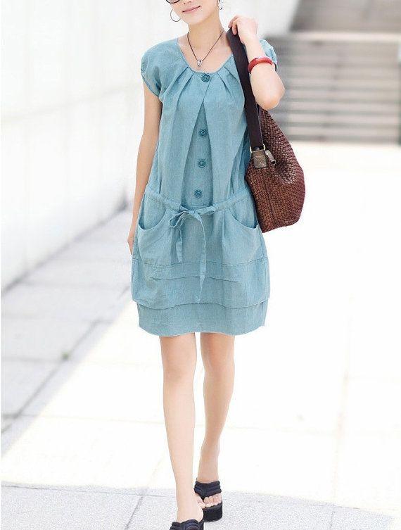 Cotton dress, Blue dress, Long dress, Maxi dress, Short Sleeve, Fall dress, Winter Dress, loose fitting dress
