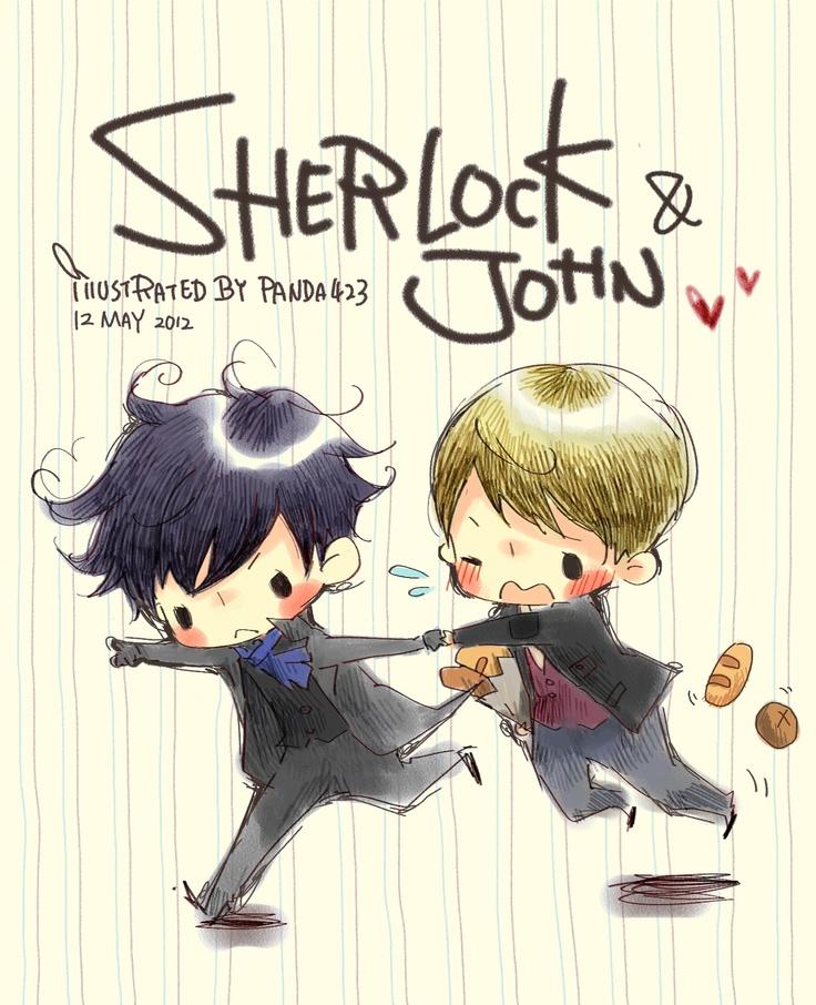 Sherlock fanart, sherlock and john...run run run~