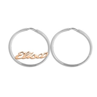 Orecchini a cerchio in argento 925 millesimi personalizzabili con il tuo nome € 49 - Hoop Name Earrings made of 925 silver, plated with Rhodium by Flores Gioielli Personal Jewels