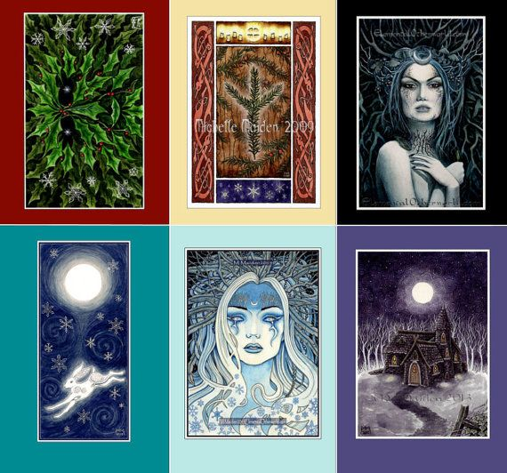 Yule Cards set of 6 pagan cards, Winter Solstice art, Wiccan Yule gift, Holly King, winter fairy, snow queen, heathen rune, Blank notelets