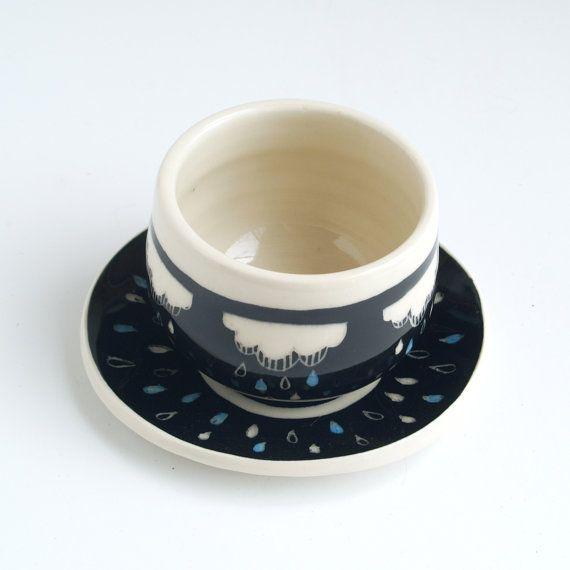 cloudy rain cup and saucer set by Belinism on Etsy, $50.00