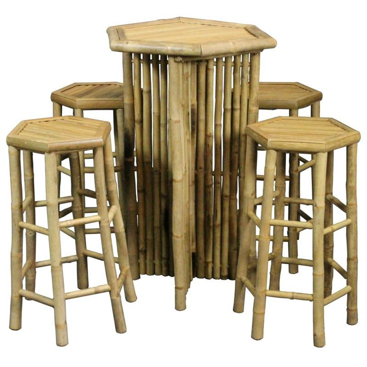 Bamboo Social Table With 4 Chairs