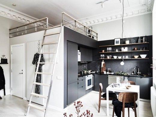 【頭上にプラス1スペース】ロフトのベッドルーム付きのコンパクトなリビング・ダイニング・キッチン | 住宅デザイン