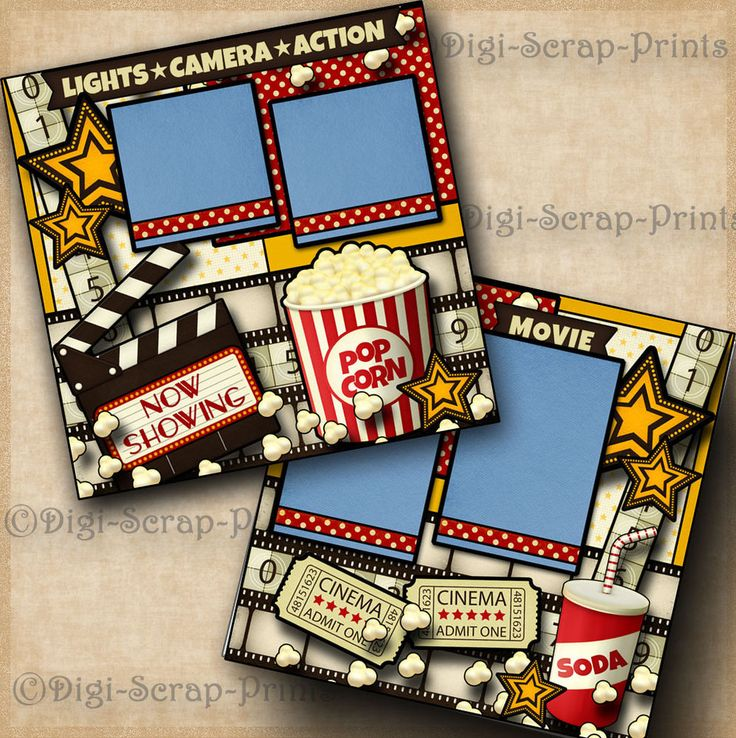 NOW SHOWING MOVIE premade scrapbook pages paper piecing LAYOUT family DIGISCRAP #DigiScrapPrints