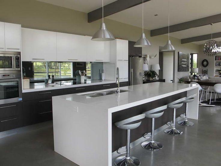 Kitchen Island Bench white high gloss island with hanging lights & matt cabinet doors