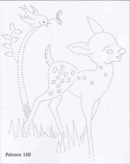 Bambi. Deer. Sweet. Card embroidery. Card piercing. Embroidery pattern. Design. Motifs. Retro. Geometric. Vintage.