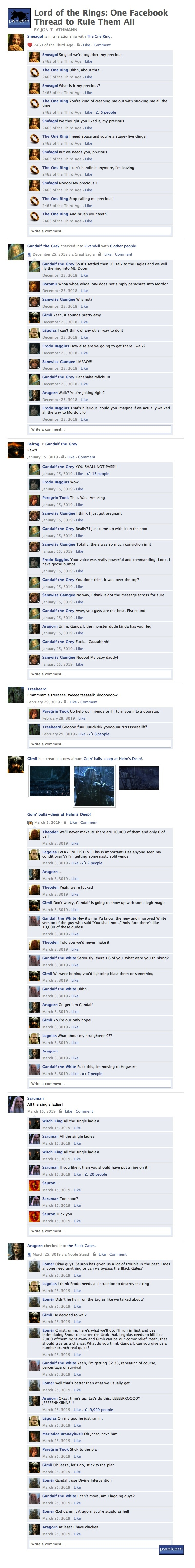 Hilarious Facebook Lord of the Rings thread, from http://www.funnyordie.com/articles/b6d2dd7350/lord-of-the-rings-one-facebook-thread-to-rule-them-all