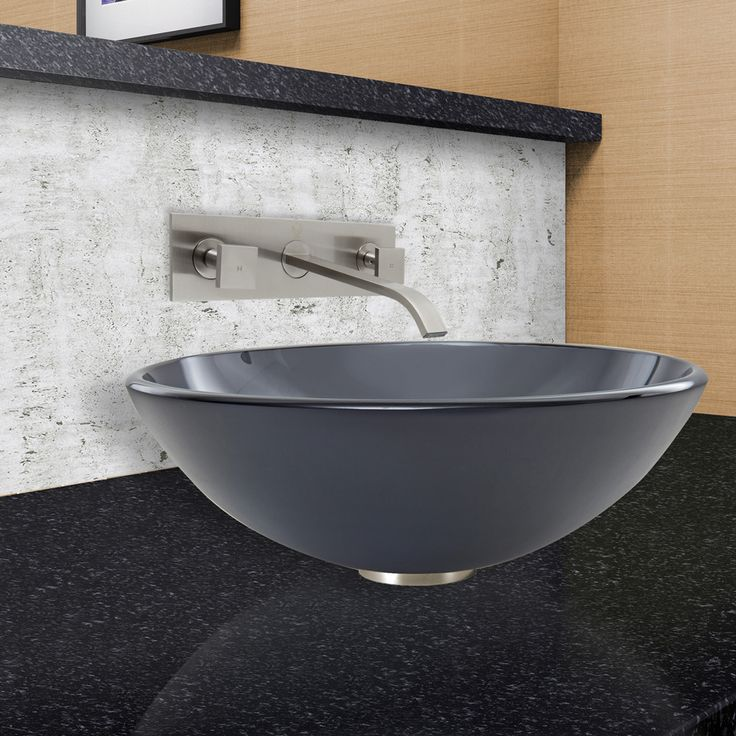 Sheer Frost Glass Vessel Sink and Titus Wall Mount Faucet Set