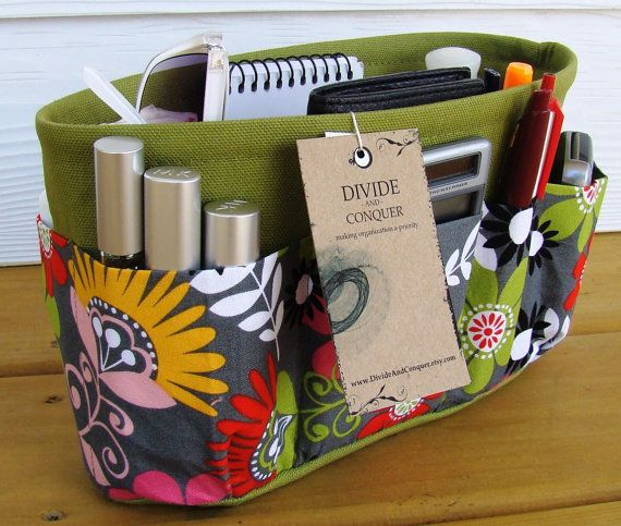 Purse ORGANIZER insert SHAPER / Bag Organizer / Cosmo Meadow Floral / STURDY / 5 sizes Available / Check out my shop for more variety