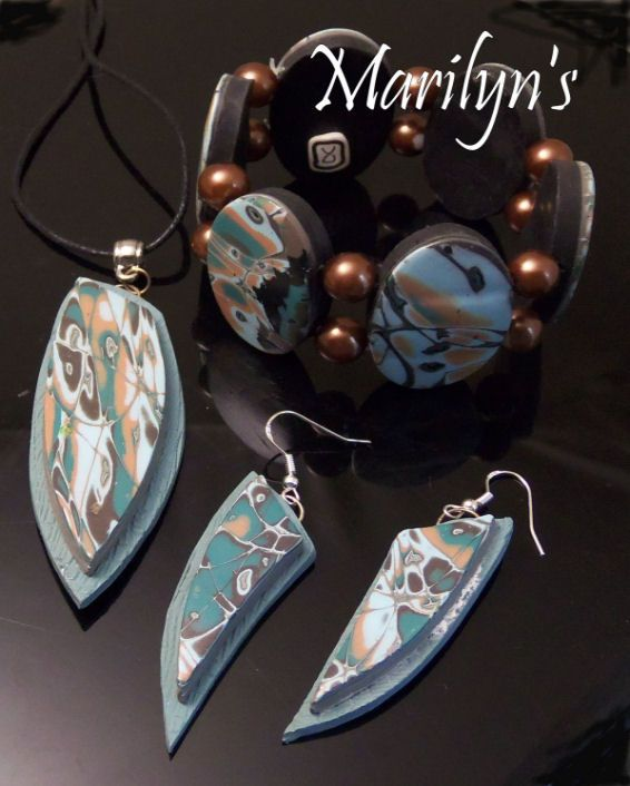 Polymer clay technique Mokume Gane Jewelry suite Blue/Tan pendant, earrings and stretch bracelet