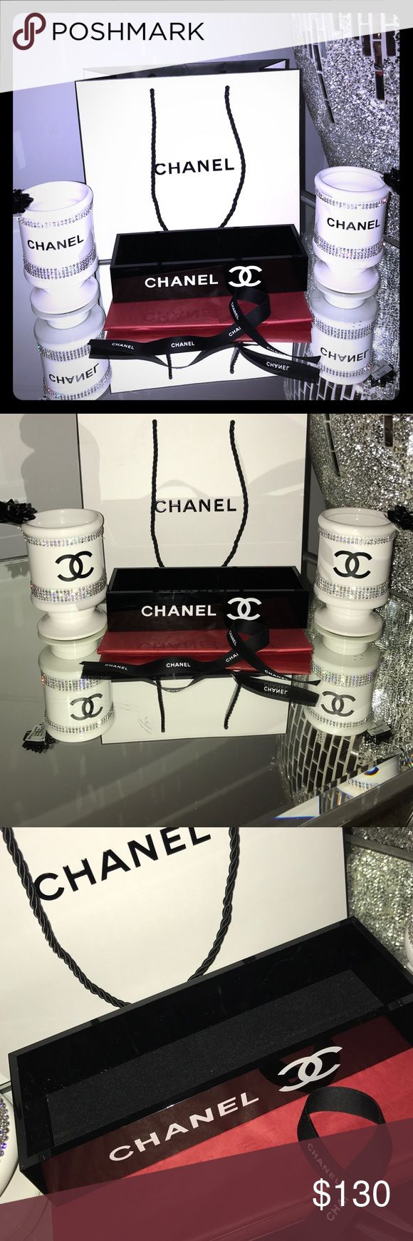 Chanel vanity set Chanel vanity set. Two-sided White porcelain and rhinestone brush holders Black acrylic removable lipstick Holder you could use it for your jewelry or cosmetics  A gorgeous gift set Chanel gift wrapping included  brush holders hole 15 to 20 brushes and each one  my last one CHANEL Makeup Brushes & Tools