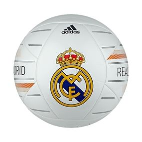 Brilliant logo, brilliant team. Show your pride in Real Madrid with the Adidas Real Madrid soccer ball, available at soccercorner.com