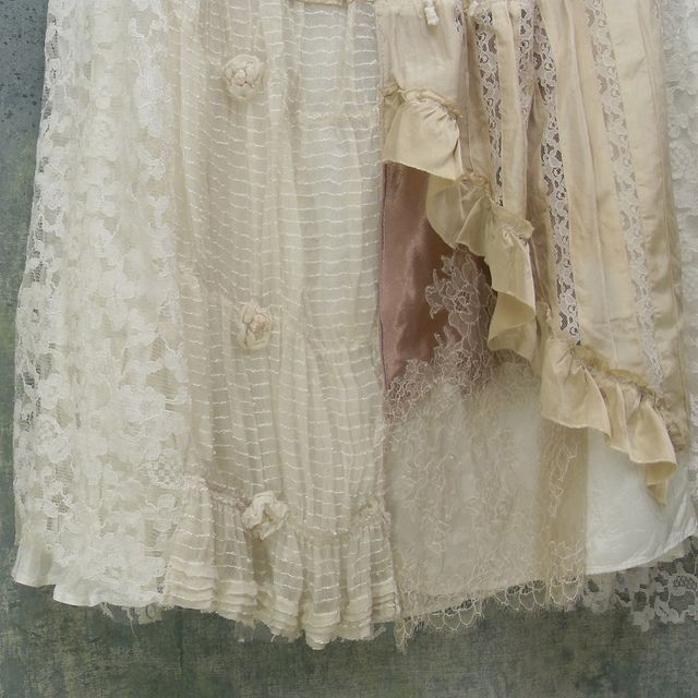 Tattered Lace Layered Gypsy Skirt Silk and Lace Upcycled Vintage by Resurrection Rags, via Flickr check out link