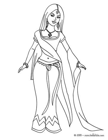 It is a graphic of Bewitching indian girl coloring page