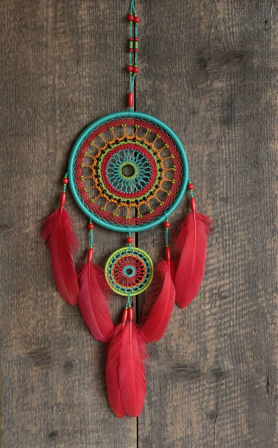 Bright dream catcher for lovers of bright colors. This is my authors dreamcatcher. The design features unique woven web. It combines five different