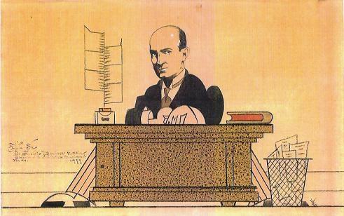 Caricatura de Hugo Wast al frente de la Biblioteca Nacional
