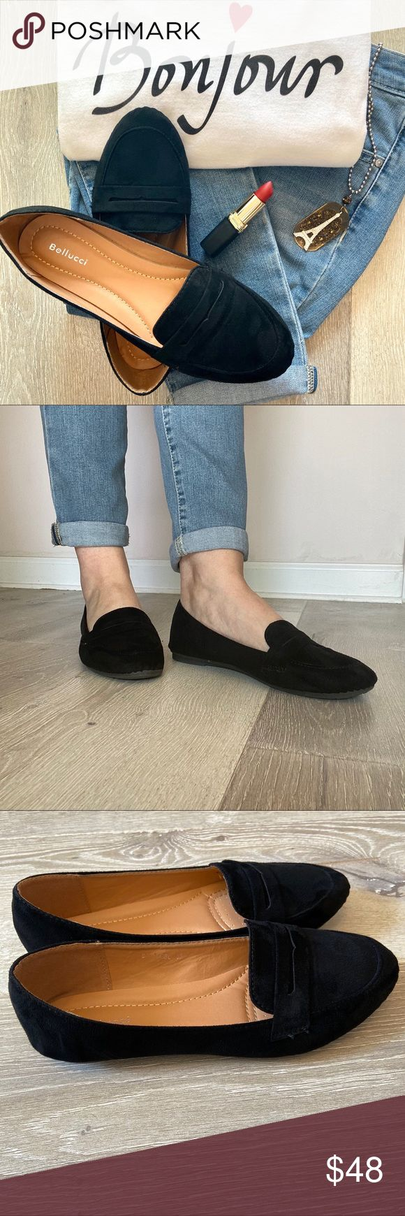 Bellucci Black Suede Penny Loafer flats size 6.5 in 2020 ...