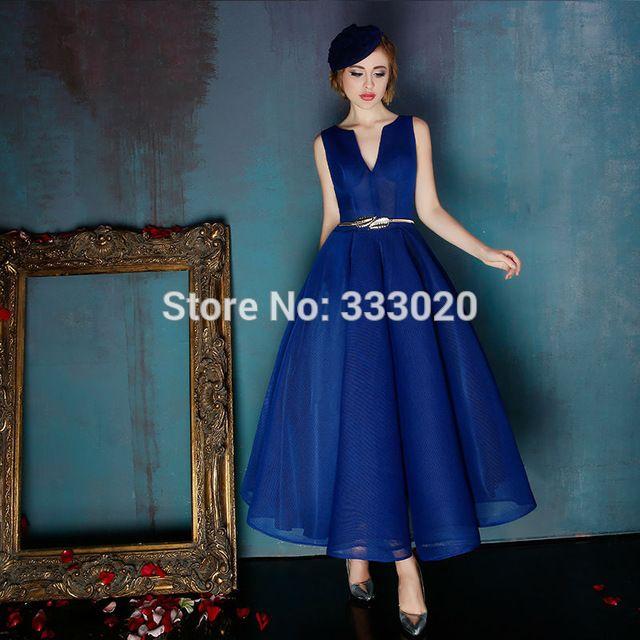 1950 s Vintage robe de bal bleu Royal thé longueur parti soirée robe courte Semi formelle robe robe de soirée