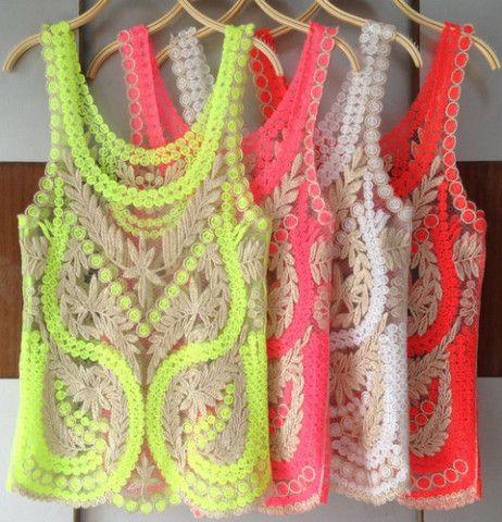 Crochet Neon Tanks I likeee