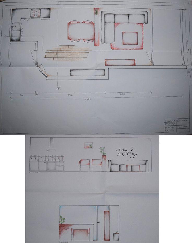 Leerjaar 1 - Interieur Tekenen - Onze eerste opdracht: een appartement inrichten. Eerst de plattegrond op schaal tekenen en daarna aanzichten maken.