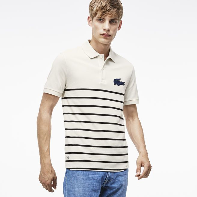 Our Engineered stripe Polo with the Novelty Croc is the perfect modern addition to his closet.
