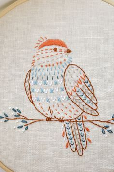 Bird hand embroidery pattern PDF (6 pages)