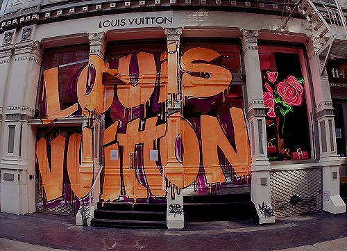 Louis Vuitton Store Front #paint #grafitti #orange