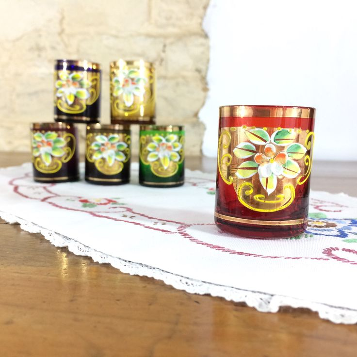 Six Hand Painted Shot Glasses. Vintage Set of Multicoloured Drinking Glasses by LaCorbeille on Etsy