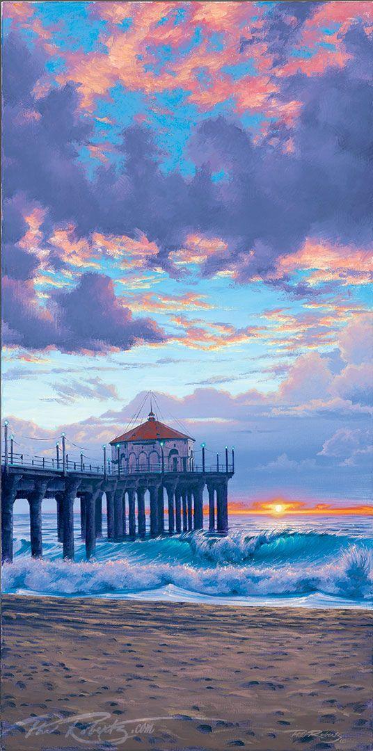 ">>BUY NOW $800 ""Winter Sunset""  original acrylic 15″x30″"