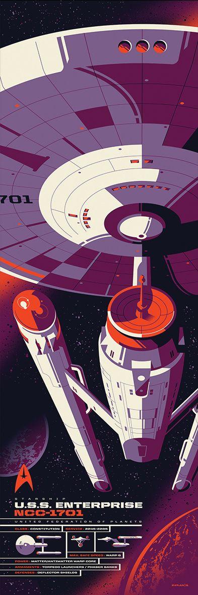 "U.S.S. Enterprise Spec Sheet Tom Whalen Print on Aluminum | 36""x 12"" Part of Star Trek's 50th anniversary exhibition, ""50 Artists. 50 Years."""