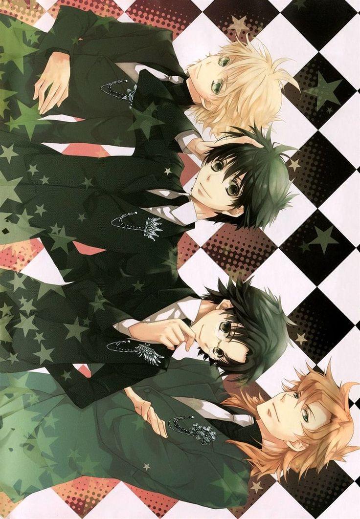 Kyo Kara Maoh manga illustration. From the top: Wolfram, Yurri, Murata, and Josak (or Yosak)