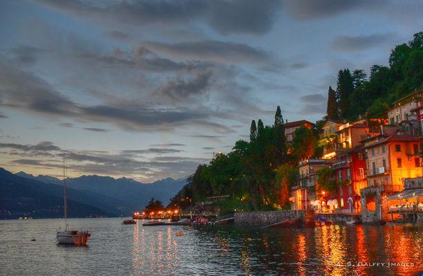 Lake Como, Menaggio, Italy - The little village of Varenna at night...