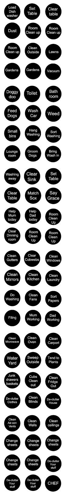 Job, Chores for magnets for Chore chart