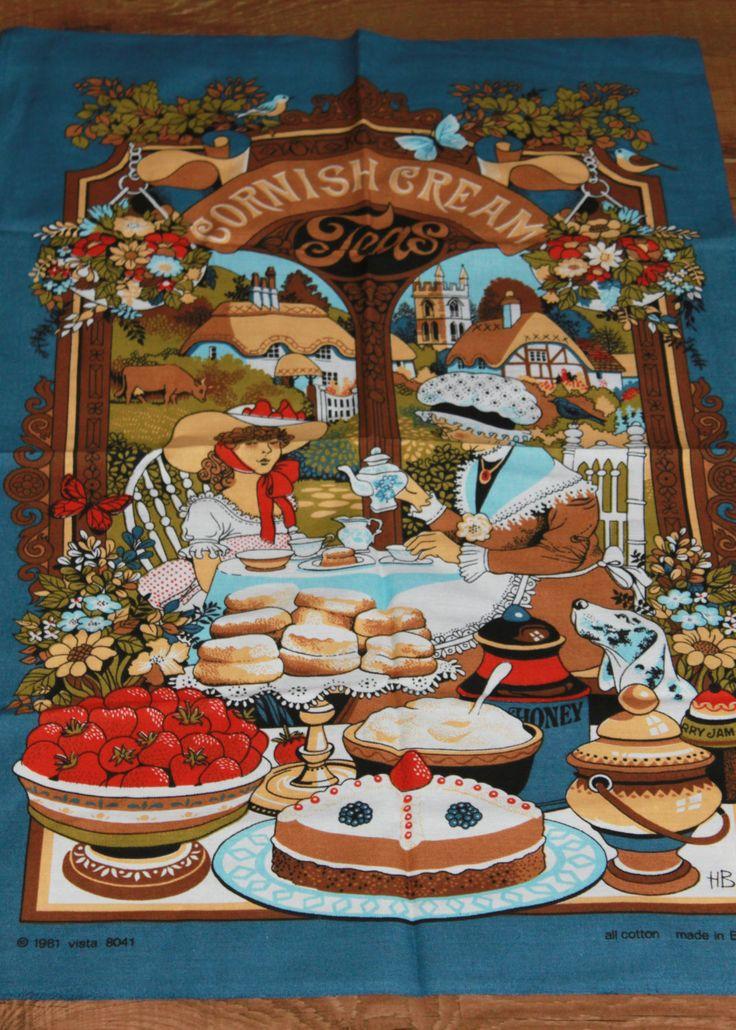 Cornish Cream Tea Design Tea Towel. New and Unused. English Traditional Style c1980s by AtticBazaar on Etsy