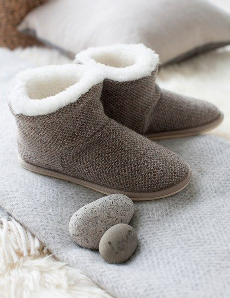 Knitted Shortie Slippers, from Celtic & Co