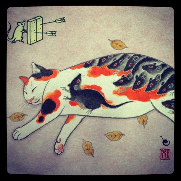 Horitomo / gato, ratón, Japón, japonés, japanese