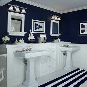 Bold Navy And White Bath !