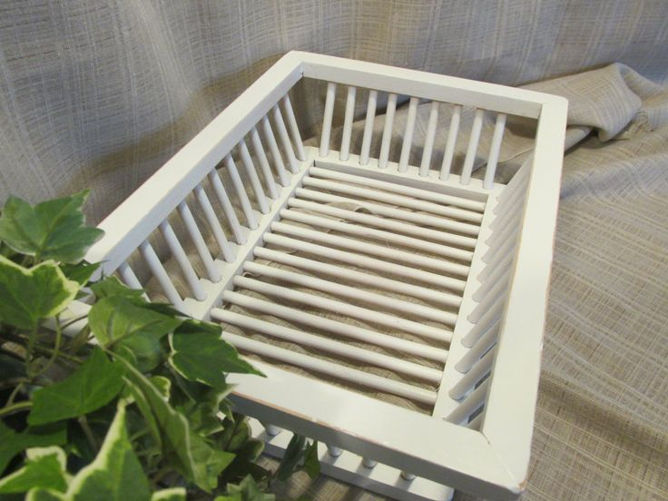 Lovely, Organizational Basket or Tray, Solid Wood, Dowel Sided and Bottomed, Cottage Chic, Beach Cottage, Country Farmhouse, Napkin Holder by ClassicMontage on Etsy