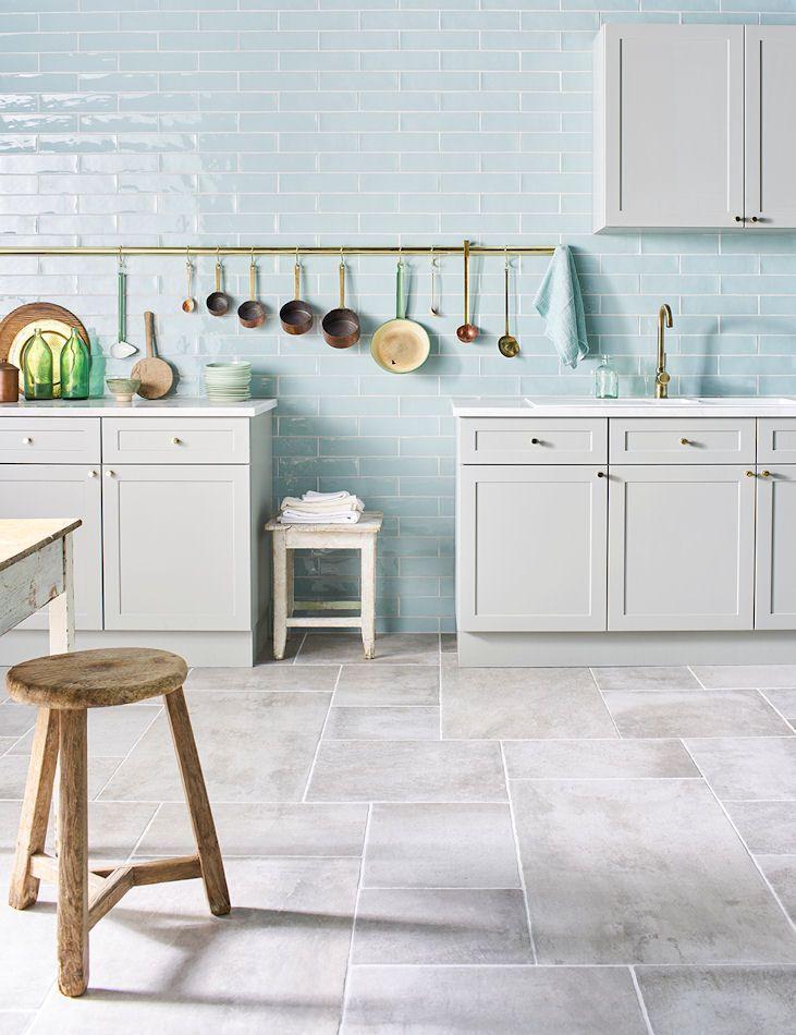 'Auvergne Grigio' Porcelain Tiles | Mimics the look of a traditional random stone floor | Gelato Mint Blue Wall Tiles | All Mandarin Stone