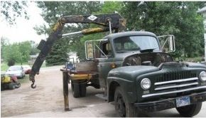 "Knuckle Boom Crane by KustomsbyKent -- Here's a knuckle boom crane that I grafted onto a 1951 Int'l truck.  I slid the flat bed back to make room, strengthened the frame, and revised the hydraulics to have enough volume to operate the crane. It came in real handy when I lifted my ""new to me"" lathe off of the shipper's..."
