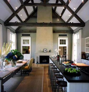 Dream kitchen size for hosting the whole family!! #kitchen: Dreams Kitchens, Barns Kitchens, Barefoot Contessa, Long Island, High Ceilings, Ina Garten, Long Tables, Dining Tables, Garten Kitchens