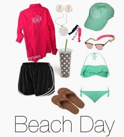 """Summer day outfit with monogrammed, sandals, and tumbler! Perfect for when you get out of the water at the lake or """"beach"""""""